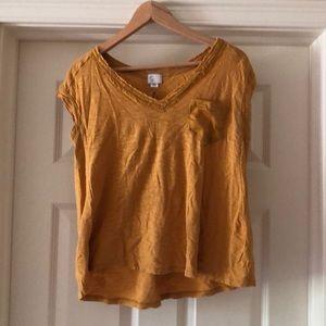 Mustard short sleeve Anthropologie shirt
